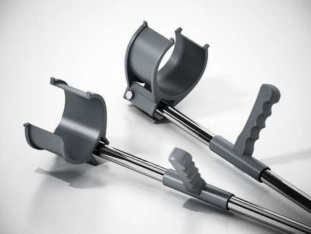 Pair of crutches isolated on white background. 3D illustration.