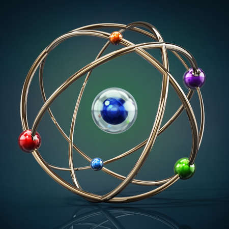 Fictitious atom model with core and orbiting spheres. 3D illustration.