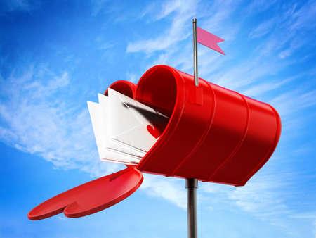 Open heart shaped mailbox full of love letters. 3D illustration.