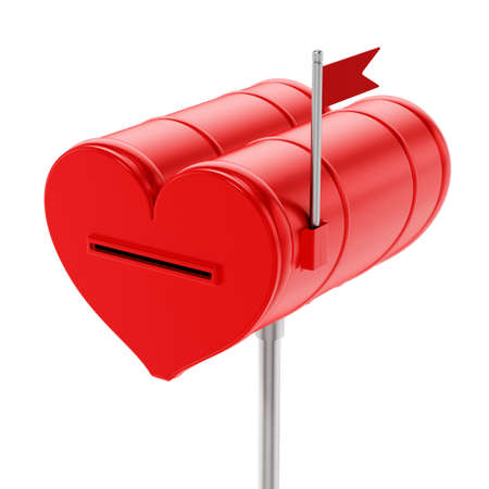 Closed red heart shaped mailbox. 3D illustration.