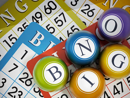 BINGO game cards and balls forming bingo word. 3D illustration. Stockfoto