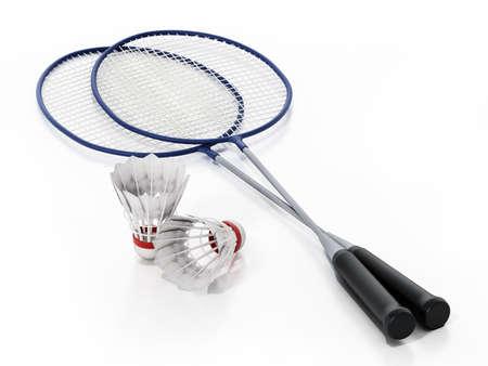 Badminton shuttlecocks and rackets isolated on white background. 3D illustration. Stockfoto
