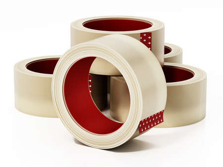 Adhesive clear tapes isolated on white background. 3D illustration.