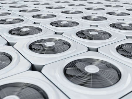 Generic air conditioner units in a row. 3D illustration.