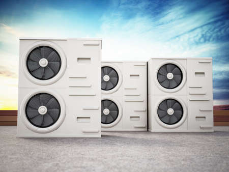 Generic air conditioner units at the roof. 3D illustration.