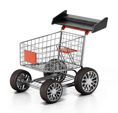 Shopping cart with sports tires and a spoiler. 3D illustration.