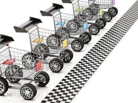 Shopping carts with sports tires and a spoiler waiting at the start line. 3D illustration.