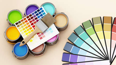 Paint cans, color guides and paintbrush. 3D illustration. Stockfoto