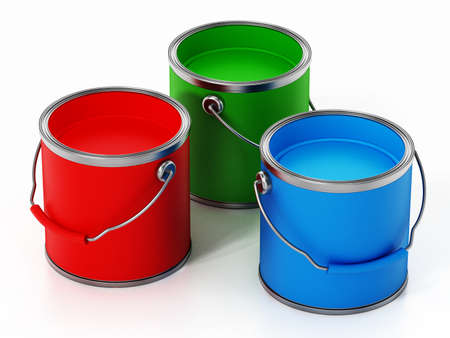 Paint cans isolated on white background. 3D illustration.