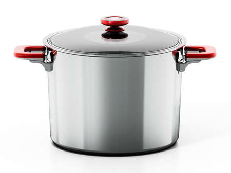 Steel cooking pot isolated on white background. 3D illustration. Stock fotó
