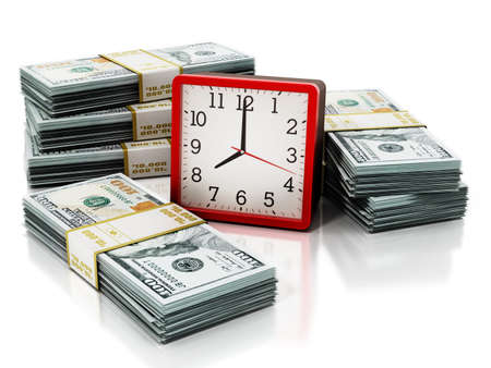 Alarm clock and dollar bills isolated on white background. 3D illustration.