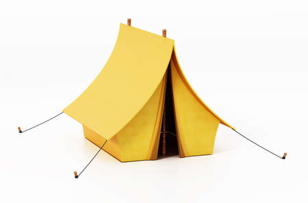 Yellow camping tent isolated on white background. 3D illustration. Stockfoto
