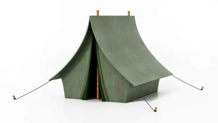 Green camping tent isolated on white background. 3D illustration. Stockfoto