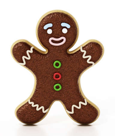 Gingerbread cookie isolated on white background. 3D illustration.