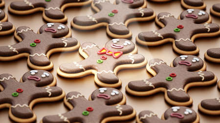 Happy gingerbread man cookie stands out in the crowd. 3D illustration. Stockfoto