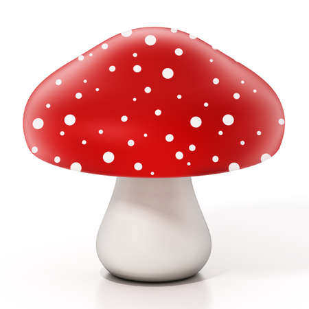 Red and white wild mushroom isolated on white background. 3D illustration.