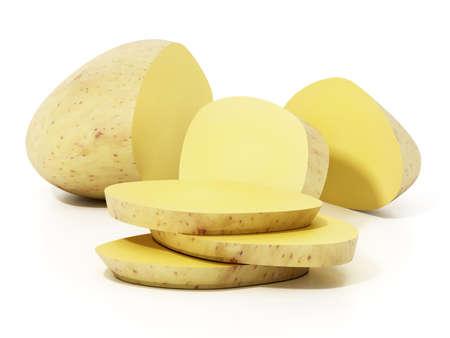 Sliced raw potato isolated on white background. 3D illustration.