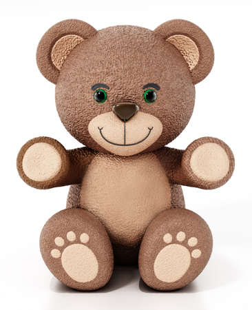 Teddy bear isolated on white background. 3D illustration. Stockfoto