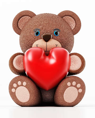Teddy bear holding a red heart isolated on white background. 3D illustration. Stockfoto