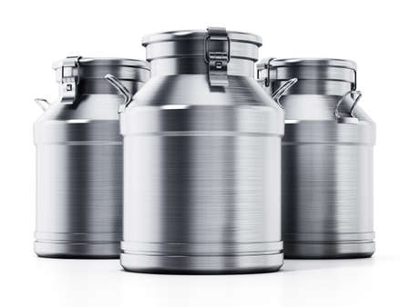 Metal retro milk cans isolated on white background. 3D illustration. Stockfoto
