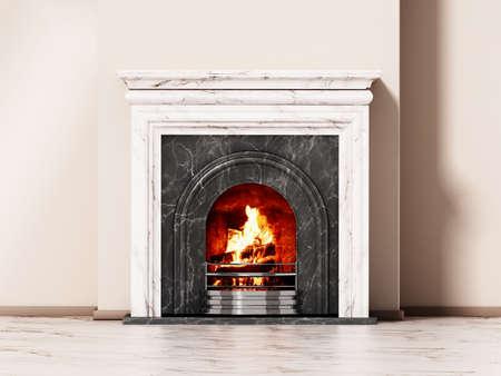 Burning wood logs inside fireplace. 3D illustration.