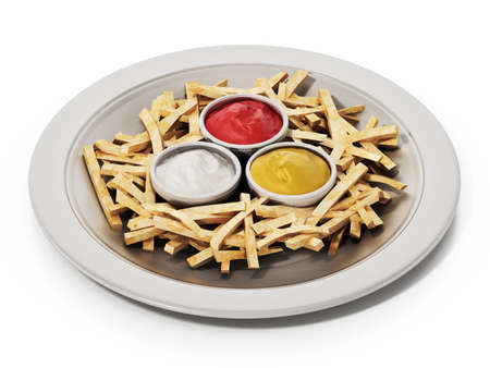 French fries with ketchup in the dish isolated on white background. 3D illustration.