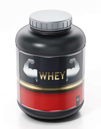 Whey protein isolated on white background. 3D illustration.