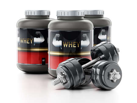 Whey protein powders and dumbells isolated on white background. 3D illustration.