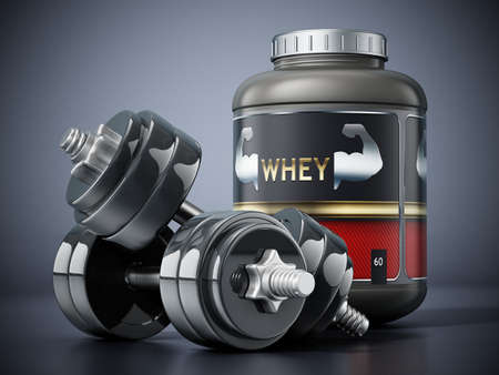 Whey protein powders and dumbells standing on black background. 3D illustration.