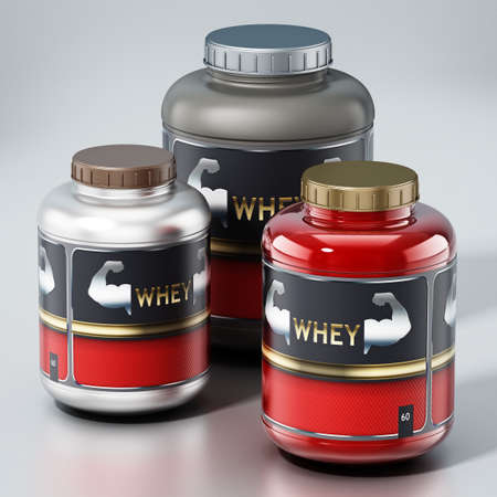 Whey protein powders isolated on gray background. 3D illustration.