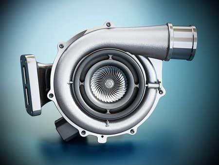 Generic turbo isolated on blue background. 3D illustration.