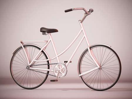 Vintage bicycle with soft shadows. 3D illustration. Foto de archivo
