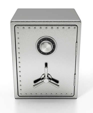 Steel safe isolated on white background. 3D illustration.