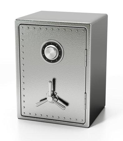 Steel safe isolated on white background. 3D illustration. 版權商用圖片 - 160523649