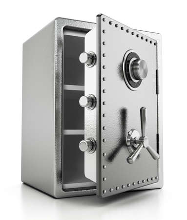 Open steel safe isolated on white background. 3D illustration. 版權商用圖片 - 160523650