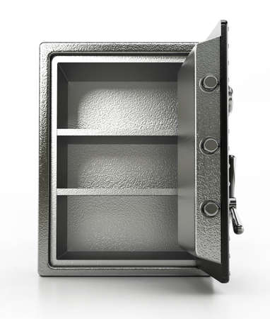 Open steel safe isolated on white background. 3D illustration.