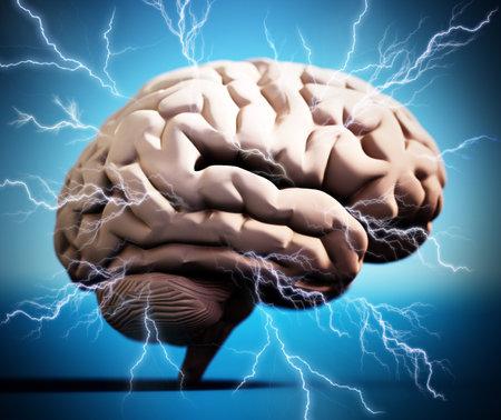 Lightning bolts around the brain. Brainstorming concept. 3D illustration.