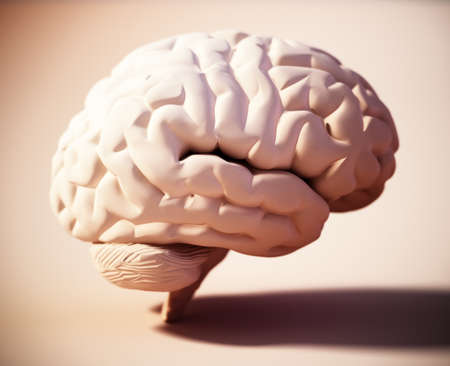 Human brain standing on soft color background. 3D illustration. 版權商用圖片 - 160523655