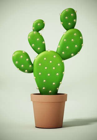 Cactus in the pot on green surface. 3D illustration. 版權商用圖片
