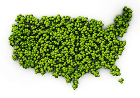 Map of USA covered with simplistic trees. 3D illustration. 版權商用圖片 - 160683136