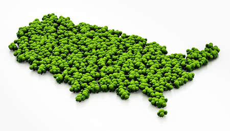 Map of USA covered with simplistic trees. 3D illustration.