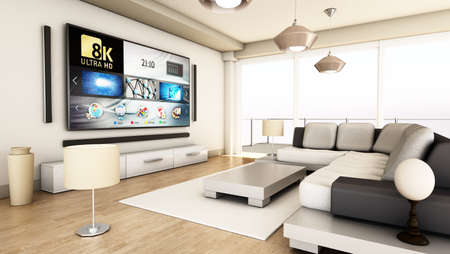 8K tv hanging on the wall of a modern room. 3D illustration. 版權商用圖片 - 160675863