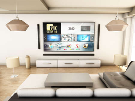 8K tv hanging on the wall of a modern room. 3D illustration.