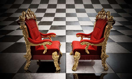 Opposing two thrones standing on checkered board. 3D illustration.