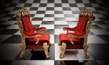 Opposing two thrones standing on checkered board. 3D illustration. 版權商用圖片 - 160747885