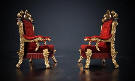 Opposing two thrones standing on black surface. 3D illustration. 版權商用圖片