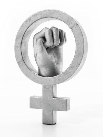 Iron fist inside the female symbol. 3D illustration.