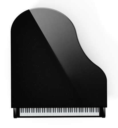Generic grand piano with reflection top view. 3D illustration. 版權商用圖片