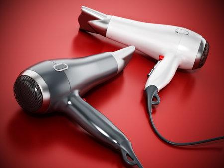Professional hair dryers on red background .. 3D illustration. 版權商用圖片 - 160915468