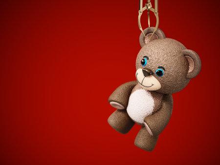 Toy claw machine holding a teddy bear. 3D illustration.